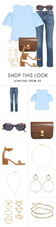 """Sin título #4331"" by hellomissapple ❤ liked on Polyvore featuring Acne Studios, Iris & Ink, Oliver Peoples, Gianvito Rossi, Scosha, Maria Francesca Pepe, Forever 21 and ASOS"
