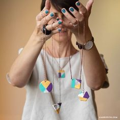 Learn how to make easy painted clay necklaces for yourself or as a DIY gift for a friend! Customize them with your own color palettes and geometric designs