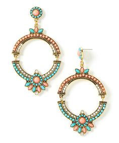 Turquoise & Coral Drop Hoop Earrings by Lux Accessories #zulily #zulilyfinds