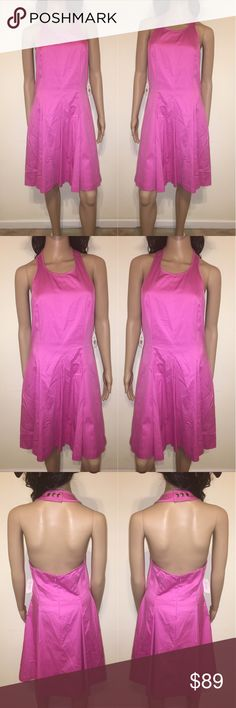 """🌸 Pretty Pink Fit & Flare Halter Dress A sporty halter bodice with polished snaps at the neck meets a flirty feminine A-line skirt for a uniquely balanced summer dress.  * Approx. length from shoulder to hem: 38 1/2"""". * Hidden back-zip closure. * Measurements taken from size 8 and may vary slightly by size. * Lined. * Cotton/spandex; dry clean. Jessica Simpson Dresses Midi"""