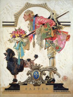 """""""Easter"""" (18th Century Frenchman with Poodle) ~ by J.C. Leyendecker, 1930"""