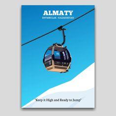 Almaty, Shymbulak Ski resort in Kazakhstan. Poster artwork design by Cocographic  Available now at displate Artwork Design, Cool Artwork, Ski Sport, Snow Skiing, Kazakhstan, Print Artist, Poster Prints, Metal