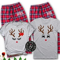 Reindeer Couple's Pajama Set with MR./MRS. on Pants /// | Etsy