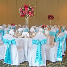 wedding centerpieces tiffany blue and red | Floral Verde LLC » Blog Archive » Kori and Eric in Bloomfield Hills ...