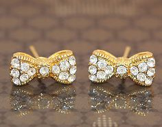 Cubic Zirconia Mini Ribbon Gold Plated Stud Earrings For Kids & Adults