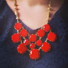 Navy lacy + orange Stella & Dot Olivia Bib necklace!