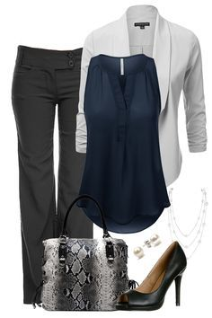 grey pants, navy top, white sweater, black shoes