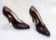 SERGIO ZELCER PUMPS, Brown Spanish Leather Classic High Heel Pumps 7.5M #SergioZelcer #PumpsClassics
