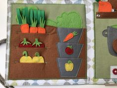 HANDMADE mini quiet book, busy book, activity book, soft book for kids especially for kids aged 3-5. In this quiet book children can easily learn how can we put the vegetables from the garden into the table. It is ideal for vegetarians or vegans. PLEASE NOTE: THIS BOOK CONTAINS SMALL