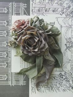 corsage  linen roses  hand dyed by kikosattic on Etsy, $120.00