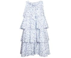 Aletta Blue White Flower Summer Dress