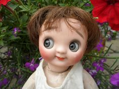 Rare Antique Googly eyed doll by Heubach.
