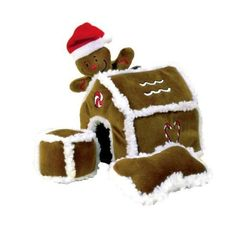 Kyjen Holiday Festive Christmas Gingerbread House Theme Pet Dog Puppy Fun Interactive Plush Puzzle Play Gift Toy - Squeak Toys #Dogs #Dog #Pets #Pet #Gift #Gifts #Christmas #Holiday #Holidays #Present #Presents #Accessories #Dog #Dogs #Chew #Squeak #Toys #Toy