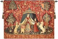"""^click photo to enlarge^ The Adoration of the Magi is a Belgian made jacquard woven wall tapestry. The original work was first produced in 1890 for the Exeter College in Oxford. It became the most popular ecclesiastical tapestry of Morris & Co. Originally designed by Edward Burne-Jones and background details by John Henry Dearle. Jacquard woven in Belgium Backed with lining Rod tunnel for easy hanging 70% Cotton 30% Viscose and Polyester Available in 3 sizes W 39"""" x H 28""""/..."""