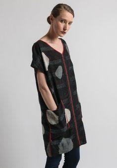 Mieko Mintz Reversible V-Neck Short Sleeve Tunic in Black
