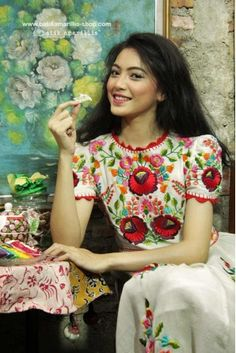 batik amarillis's birthday dress-PO (excluded obi belt) Embroidery On Clothes, Embroidery Dress, Batik Fashion, Ethnic Fashion, Classic Outfits, Chic Outfits, Traditional Mexican Dress, Amarillis, Beautiful Summer Dresses