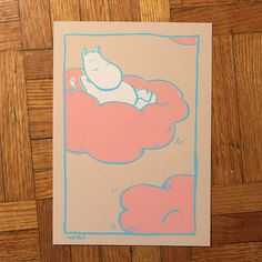Moomin in pink marshmallow cloud by waikhan on Etsy, $5.00