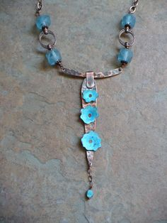Copper, Patina, and Rivets with Recycled Glass and Copper Chain