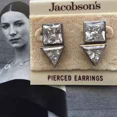 "🎀HP 4 X 🎀Pretty Flirty & Girly🎀 Vintage🎀 Chosen by Hostesses @ginga69 & @fahionista21 & @yankrebel💐 On the original Jacobson's earring card.  Great with jeans or for a dressy occasion!  .5"" wide X a little over 1"" long.  Light weight posts. Jacobson's Jewelry Earrings"