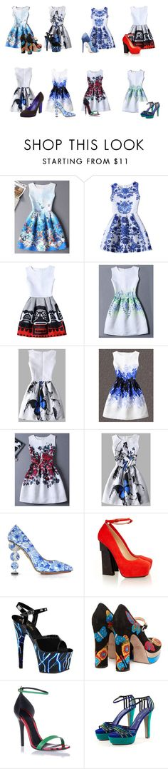 """Leaves Print Jacquard Set"" by azra612 ❤ liked on Polyvore featuring Chicnova Fashion, WithChic, Charlotte Olympia, Aperlaï, Valentino, Alexander McQueen and Sergio Rossi"