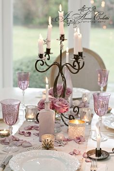 Beautiful tablescape: Source: A kindred Spirit -tumblr. Joanne Coletti Photography. #tablescape #lilac #roses