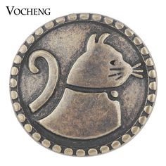 Vocheng Snap Charms Antique Bronze House Cat Chunk Button Jewelry 18mm Vn-1747 #VOCHENG #European $2