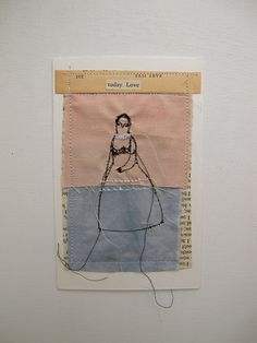 today love  mixed media embroidery collage by cathycullis on Etsy