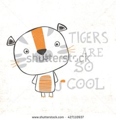 little tiger illustration with typo for baby tee print