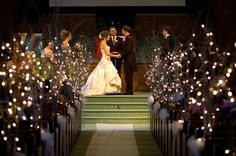 Winter Wedding Aisle Decoration with Lighted Pussy Willow Branches. DOn't know how I could do this, but it has such a winter wonderland feel to it! Wedding Ceremony Ideas, Wedding Church Aisle, Wedding Aisle Decorations, Church Decorations, Centerpiece Decorations, Wedding Bells, Wedding Flowers, Wedding Dresses, Wedding Ideias