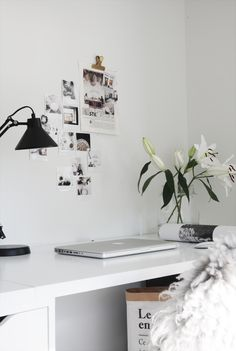 All white, minimal work space. I'd love this to be my home office. Home Office Space, Desk Space, Home Office Design, Home Office Decor, Office Workspace, Desk Areas, Workspace Inspiration, Interior Design Inspiration, Interior Work