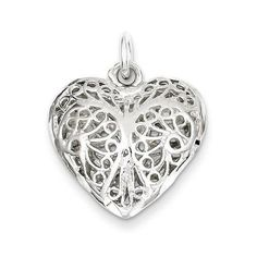 "NEW SOLID 925 STERLING SILVER HEART 3D CHARM OR PENDANT FOR NECKLACE .82"" X .78"" #Pendant"