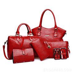 Ericdress Trendy Croco Solid Color Handbags (6 Bags) Handbags