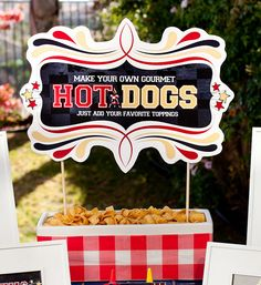Hot Dog bar with free printable at the bottom of article.