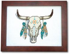 Cow Skull & Feathers Modern Cross Stitch Pattern - PDF Instant Download