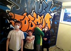 #Graffiti bedroom walls - cool!  Hire an artist to come and paint a wall for you.