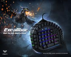 AULA Excalibur One Handed Mechanical Gaming Keyboard, Blue Switches, Software Customizable RGB Backlit Effects, 8 Programmable Macro Keys, and Removable Wrist Rest Mechanical Computer, Macro Keys, Hand Games, I Love Games, Gaming Pcs, Key Caps, Pc Cases