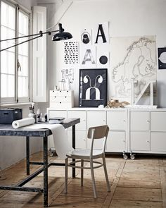 black and white industrial creative space