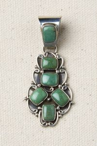 Gorgeous Green Turquoise Navajo Sterling Silver Pendant