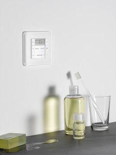 Gira Esprit på badet Home Automation, Glass Design, Personal Care, Technology, Building, Elegant, Gallery, Spirit, Electrical Outlets