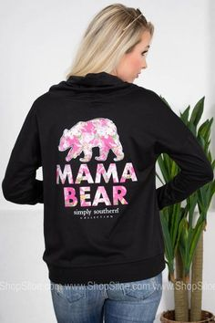 Mama Bear  | Black | Simply Southern Simply Southern, Southern Belle, Southern Sayings, Fashion Brand, Long Sleeve Shirts, Graphic Sweatshirt, Bear, Sweatshirts, Casual