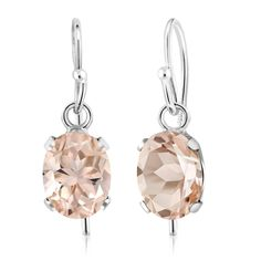 925 Sterling Silver Oval Peach Morganite Gemstone Earrings 1.30 Ctw ** Read more at the image link. (This is an affiliate link)