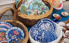 Colors of Portugal: hand-crafted plates, bowls and tiles brighten up the local markets, Alentejo Pottery, Portugal