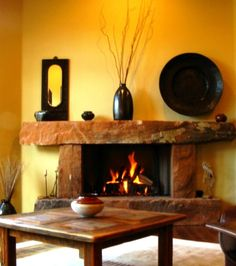 santa fe style fireplaces | Santa Fe Yellow, This is the Living / Greatroom of a Santa Fe style ...