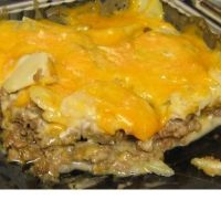 Hamburger - potato casserole. Real meat and potato meal - bake in 9X13 if using 2 cans soup - increase potatoes, watch salt - soup makes salty anyway. Very good, quick casserole. Bakes 1 1/2 hours.