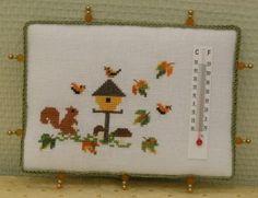 unique Autumn squirrel cross stitch pinkeep thermometer