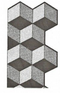 Free The tumbling block quilt pattern  illusion is created using 3 different shads of various colors