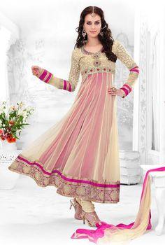 $100.21 Cream Net Embroidery Long Anarkali Style Salwar Kameez 23967