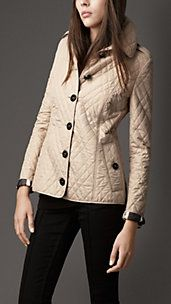 LEATHER TRIM QUILTED JACKET