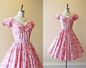 1950s Dress - Vintage 50s Dress - Pink Grey Roses Cotton Circle Skirt Garden Party Sundress S - Roseate