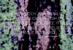 """""""Everybody is a genius, but if you judge a fish by its ability to climb a tree, it will live its whole life believing that it is stupid."""" This doesn't sound a bit like Einstein, but it's still good. -thatgirl"""